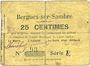 Banknotes Bergues-sur-Sambre (02). Commune. Billet. 25 cmes 9.6.1915, série A