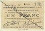 Banknotes Biache-Saint-Waast (62). Commune. Billet. 1 franc 5.1.1915, série B, n° rectifié à la main