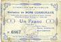 Banknotes Bourlon (62). Commune. Billet. 1 franc 7.7.1915