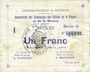 Banknotes Braux (08). Arrondissement de Mézières. Billet. 1 franc, série O, 18.11.1914 et 19.1 et 25.3.1915