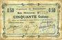 Banknotes Buironfosse (02). Commune. Billet. 50 cmes 25.8.1915