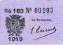 Banknotes Cadillac (33). Syndicat du Commerce. Billet. 10 cmes 1918, série 183