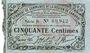 Banknotes Cambrai (59). Syndicat de Communes de la Région de Cambrai. Billet. 50 cmes 10.5.1916, série B