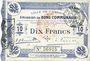 Banknotes Cambrai (59). Ville. Billet. 10 francs 30.10.1914, cachet d'annulation rouge au revers