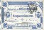 Banknotes Cambrai (59). Ville. Billet. 50 cmes 30.10.1914, 2e série, numérotation en noir