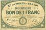 Banknotes Carvin (62). Compagnie des Mines de Carvin. Billet. 1 franc