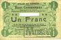 Banknotes Carvin (62). Ville. Billet. 1 franc 15.1.1915, Avec numéro découpé et cachet MUSTER (fantaisie(?)