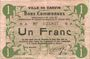 Banknotes Carvin (62). Ville. Billet. 1 franc 15.1.1915