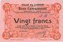 Banknotes Carvin (62). Ville. Billet. 20 francs 15.1.1915, essai uniface