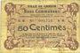 Banknotes Carvin (62). Ville. Billet. 50 centimes 15.1.1915