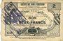Banknotes Caudry (59). Société des Bons d'Emission. Billet. 2 francs, 3e émission, série 5