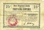 Banknotes Cerisy (02). Mairie. Billet.  B.R.U., 25 cmes