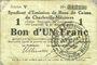 Banknotes Charleville et Mézières (08). Syndicat d'Emission de  Bons de Caisse. 1 franc 11.3.1916, série V