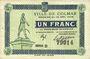 Banknotes Colmar (68). Ville. Billet. 1 franc 15.12.1918, série D