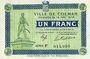 Banknotes Colmar (68). Ville. Billet. 1 franc 15.12.1918, série F. Filigrane « G TORPE(…) »