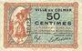 Banknotes Colmar (68). Ville. Billet. 50 centimes 15.12.1918, sans série
