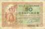 Banknotes Colmar (68). Ville. Billet. 50 centimes 15.12.1918, série E