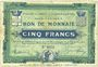 Banknotes Croix et Wasquehal (59). Villes. Billet. 5 francs 10.11.1914, série 6055