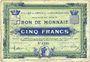 Banknotes Croix et Wasquehal (59). Villes. Billet. 5 francs 10.11.1914, série 6190