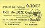Banknotes Douai (59). Ville. Billet. 10 centimes 6.5.1915, papier jaune clair