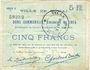 Banknotes Douai (59). Ville. Billet. 5 francs 30.8.1914, série D6