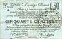 Banknotes Douai et Région de Carvin (59). Billet. 50 centimes 22.5.1916, 1ère série A