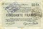 Banknotes Douai et Région de Carvin (59). Billet. 50 francs 22.5.1916, 2e série G