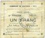 Banknotes Dourges (62). Commune. Billet. 1 franc 18.1.1915, série EO