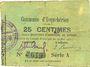 Banknotes Esquehéries (02). Commune. Billet. 25 centimes 23.5.1915, série A