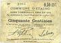 Banknotes Etaing (62). Commune. Billet. 50 centimes 22.3.1915