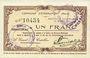 Banknotes Etréaupont (02). Commune. Billet. 1 franc 13.8.1915