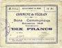 Banknotes Féchain (59). Commune. Billet. 10 francs, émission 1915