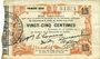 Banknotes Fourmies (59) Bon Régional des Départ. du Nord, Aisne & Oise. Billet. 25 cmes 24.10.1915, 1ère série