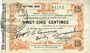 Banknotes Fourmies (59). Bon Régional des Départ. du Nord, Aisne & Oise. Billet. 25 cmes 24.10.1915, 7e série