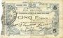 Banknotes Fourmies (59). Bon Régional des Départ. du Nord, Aisne & Oise. Billet. 5 francs 24.10.1915, 2e série