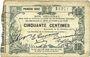 Banknotes Fourmies (59). Bon Régional des Départ. du Nord, Aisne & Oise. Billet. 50 cmes 24.10.1915, 1e série