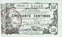 Banknotes Fourmies (59) Bon Régional des Départ. du Nord, Aisne & Oise, billet 50 cmes 8.5.1915, série 13