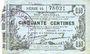 Banknotes Fourmies (59). Bon Régional des Départ. du Nord, Aisne & Oise. Billet. 50 cmes 8.5.1915, série 14