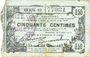 Banknotes Fourmies (59). Bon Régional des Départ. du Nord, Aisne & Oise. Billet. 50 cmes 8.5.1915, série 19