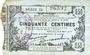 Banknotes Fourmies (59). Bon Régional des Départ. du Nord, Aisne & Oise. Billet. 50 cmes 8.5.1915, série 23