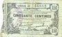 Banknotes Fourmies (59). Bon Régional des Départ. du Nord, Aisne & Oise. Billet. 50 cmes 8.5.1915, série 26