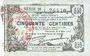 Banknotes Fourmies (59). Bon Régional des Départ. du Nord, Aisne & Oise. Billet. 50 cmes 8.5.1915, série 28