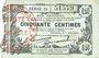 Banknotes Fourmies (59). Bon Régional des Départ. du Nord, Aisne & Oise. Billet. 50 cmes 8.5.1915, série 30