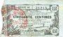 Banknotes Fourmies (59). Bon Régional des Départ. du Nord, Aisne & Oise. Billet. 50 cmes 8.5.1915, série 38