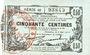 Banknotes Fourmies (59). Bon Régional des Départ. du Nord, Aisne & Oise. Billet. 50 cmes 8.5.1915, série 40
