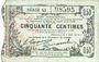 Banknotes Fourmies (59). Bon Régional des Départ. du Nord, Aisne & Oise. Billet. 50 cmes 8.5.1915, série 43