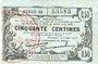 Banknotes Fourmies (59). Bon Régional des Départ. du Nord, Aisne & Oise. Billet. 50 cmes 8.5.1915, série 50