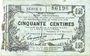Banknotes Fourmies (59). Bon Régional des Départ. du Nord, Aisne & Oise. Billet. 50 cmes 8.5.1915, série 5