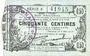 Banknotes Fourmies (59). Bon Régional des Départ. du Nord, Aisne & Oise. Billet. 50 cmes 8.5.1915, série 8