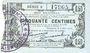 Banknotes Fourmies (59). Bon Régional des Départ. du Nord, Aisne & Oise. Billet. 50 cmes 8.5.1915, série 9